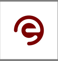 initial logo e inside a rounded letter negative vector image