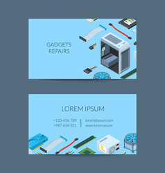 isometric electronic devices business card vector image