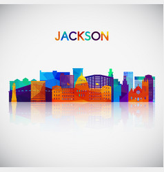 jackson skyline silhouette in colorful geometric vector image