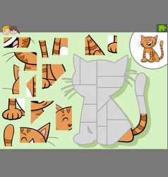 Jigsaw puzzle game with cartoon cat character vector