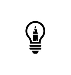 lamp and pencil creative design idea flat vector image