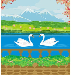 landscape with mountains and swans on the lake vector image