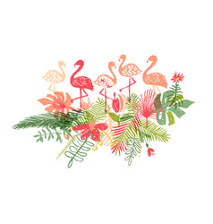 lets flamingle hand drawn exotic plant and bird vector image