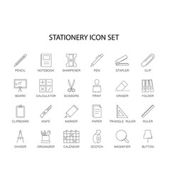 line icons set stationery pack vector image