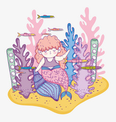 Mermaid woman in the shells with seaweed plants vector