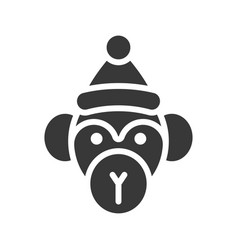 monkey wearing santa hat silhouette icon design vector image