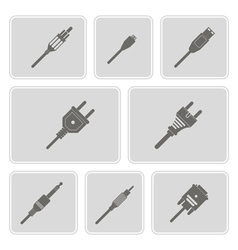 monochrome icons with different power cord plug vector image