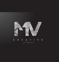 mv m v letter logo with zebra lines texture vector image