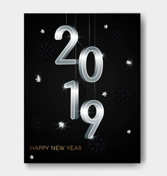 new year night banner flyer with silver 3d numbers vector image