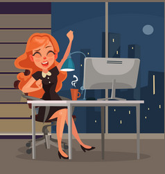 Office worker woman character yawns workplace vector