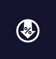 Percent down icon vector