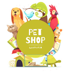 Pet shop frame background vector