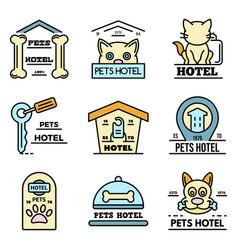 pets hotel icons set line color vector image