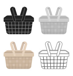 Picnic basket icon in cartoon style isolated on vector