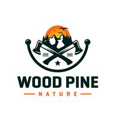 pine wood logo design vector image