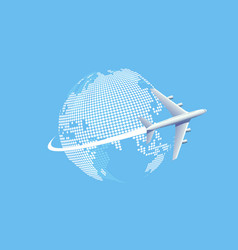 plane flying over world map vector image
