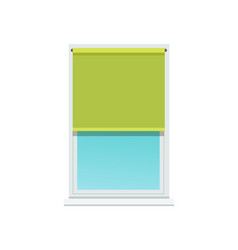 Plastic window and stylish textile green jalousie vector