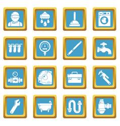 Plumber symbols icons set sapphirine square vector
