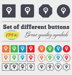 Plus Map pointer GPS location icon sign Big set of vector