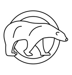 polar bear on circle logo outline style vector image