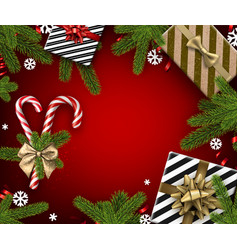 Red christmas background with candy and gifts vector