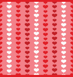 red geometric hearts stripes seamless pattern vector image