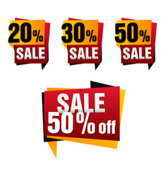 Sale paper banner set sale background big vector