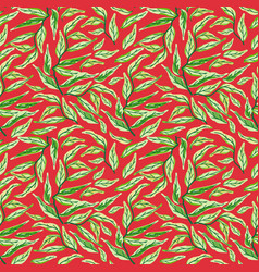 seamless pattern with leaf green and black vector image