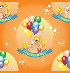 seamless pattern with pony and balloons vector image