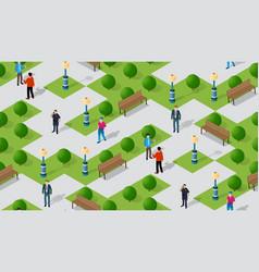 seamless urban plan park pattern map isometric 3d vector image