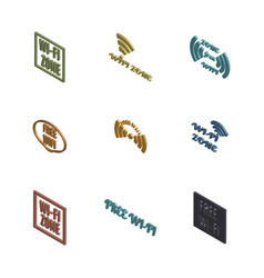 set 3d wireless icons vector image