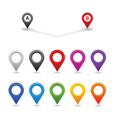 set colorful map pin vector image