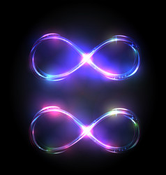 Set shining infinity symbols violet vector