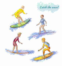 Several surfers on boards surfing vector