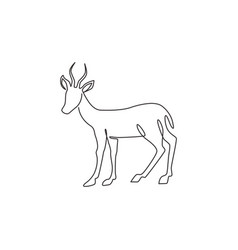Single continuous line drawing cute antelope vector