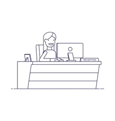 Smiling secretary sitting at a computer in the vector image