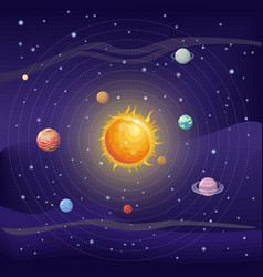 Solar system with sun and planets on orbit vector