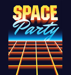 Space disco party vintage poster design vector