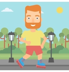 Sporty man on roller-skates vector image vector image