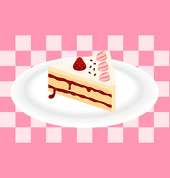 strawberry cake on plate vector image vector image