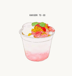 Strawberry pudding crumble kakigori hand drawn vector