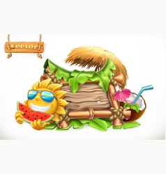 Summer wooden banner summertime party 3d vector