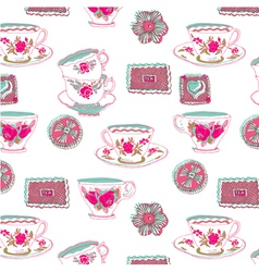 tea cup wallpaper vector image