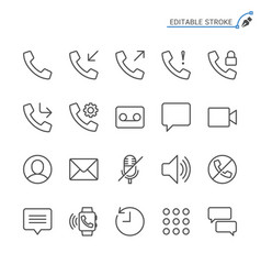 telephone line icons editable stroke vector image