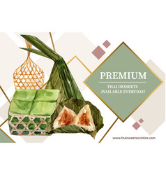 Thai sweet frame design with pudding pyramid vector
