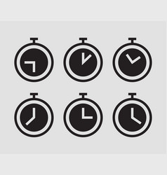 timer stopwatch icons set clock silhouette vector image
