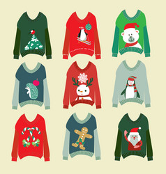 ugly christmas sweaters set sweater party vector image