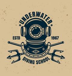 Underwater diving school vintage emblem vector