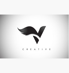 V letter wings logo design with black bird fly vector