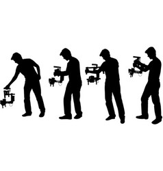 Videographer with handheld steadycam silhouettes vector